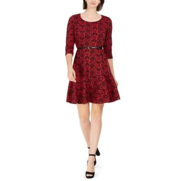 Ny Collection Petite Printed Flounce-Hem Dress