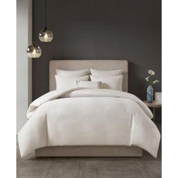 N Natori Hanae Full/Queen Cotton Blend Yarn Dyed 3 Piece Comforter Set Bedding