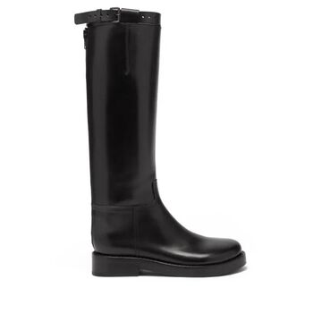 Ann Demeulemeester - Buckled-strap Leather Knee-high Boots - Womens - Black