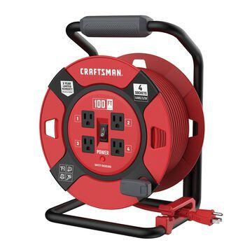 CRAFTSMAN CRAFTSMAN Heavy Duty Retractable Extension Cord, 100 ft with 4 Outlets - 14AWG SJTW Cable - Outdoor Power Cord Reel in Red | CMXCRPA14100