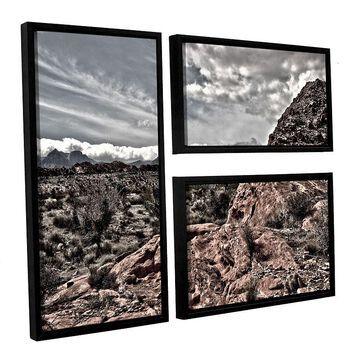 ArtWall Fingertip Afternoon Framed Wall Art 3-piece Set, Brown, 36X48