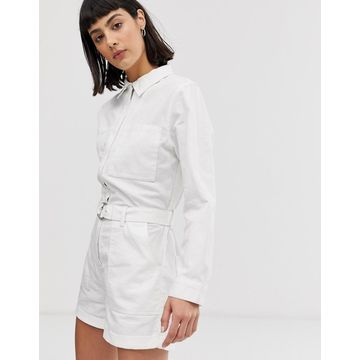 Weekday belted boiler romper with pockets in white