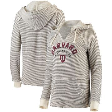 Harvard Crimson Blue 84 Women's Striped French Terry V-Neck Hoodie Cream