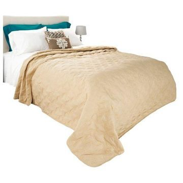 Solid Color Quilt by Lavish Home King, Taupe