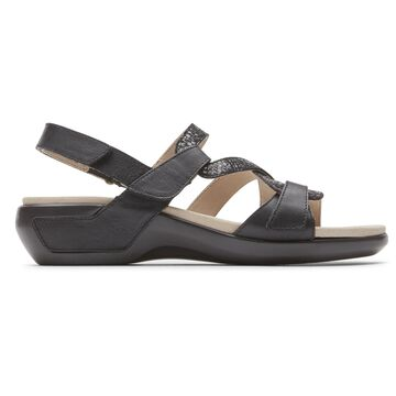 Aravon Womens Power Comfort S-Strap Sandal - Size 6 2A Black