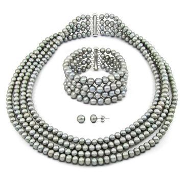 DaVonna Sterling Silver 6-7mm Grey Freshwater Pearl 4-row Necklace Bracelet Earring jewelry set