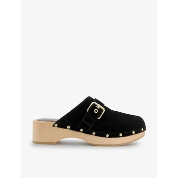 Dune Womens Black-suede Gizeles Buckle-detail Suede Clogs 7