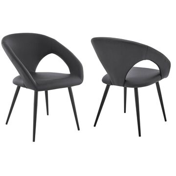Set of 2 Elin Faux Leather and Black Metal Dining Chairs Gray - Armen Living