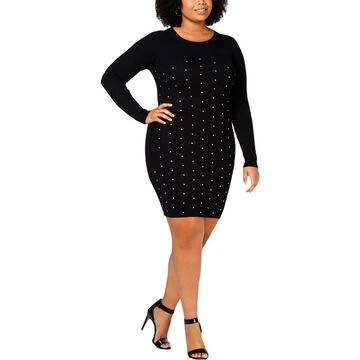 Planet Gold Womens Plus Studded Ribbed Party Dress