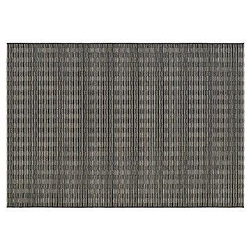Couristan Cape Barnstable Geometric Indoor Outdoor Rug, Black, 4X5.5 Ft