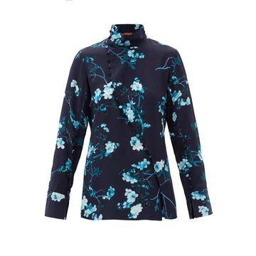 Altuzarra - Marjorie Floral-print Silk Top - Womens - Blue
