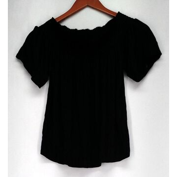 Ultra Flirt Top Sz M Off Shoulder Elastic Neck Black Womens