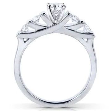 Annello by Kobelli 14k Gold 1/2ct TDW Round-cut 5-stone Bar Diamond Bridal Set (6 - White)