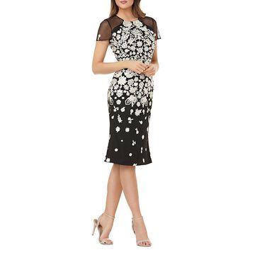 Carmen Marc Valvo Womens Knee-Length Embroidered Cocktail Dress