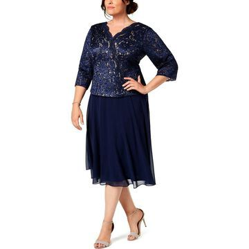 Alex Evenings Womens Plus Midi Dress Lace Embroidered