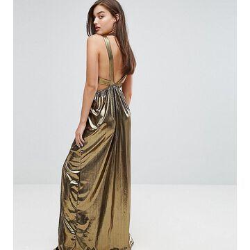 TFNC V Neck Maxi Dress With Pleated Back Panels-Gold
