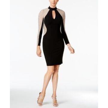 Xscape Petite Beaded Colorblocked Sheath Dress