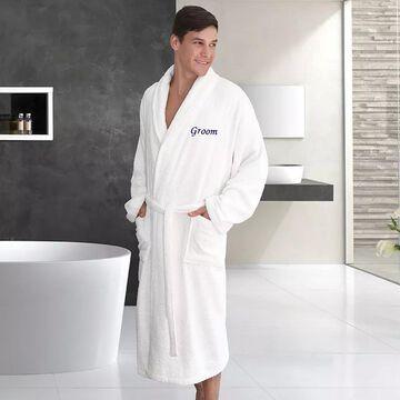 "Linum Home Textiles ""Groom"" Embroidered Cotton Terry Bathrobe, Men's, Size: Large/XL, White"