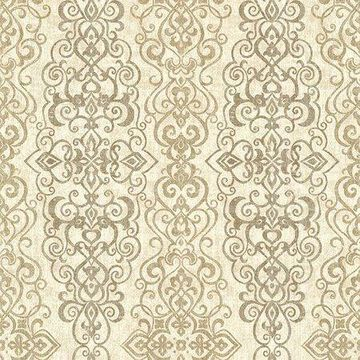 Kenneth James Mexuar Taupe Filigree Stripe Wallpaper