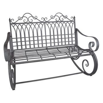 Oakland Living Ornate Traditional Curlicue Iron And Steel Rocking Chair Bench