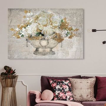 Oliver Gal 'Monaco Rose Ball' Floral and Botanical Wall Art Canvas Print - White, Gold