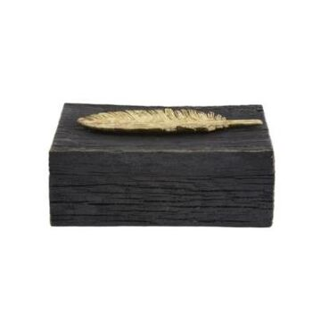 Howard Elliott Rustic Faux Wood Box with Gold Feather Accent