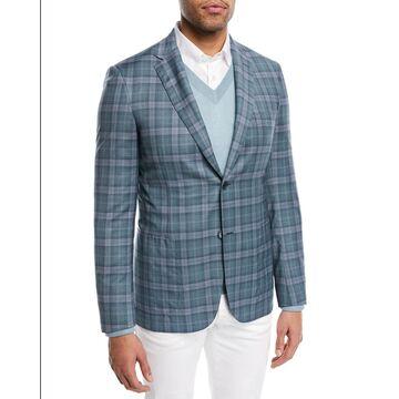 Plaid Woven Wool Blazer, Gray