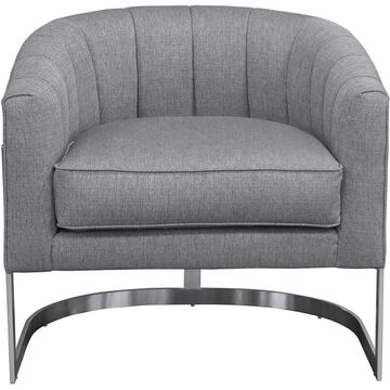 Armen Living Paloma Accent Chair in Gray and Silver