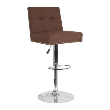 Offex Contemporary Adjustable Height Swivel Barstool with Accent Nail Trim in Brown Fabric