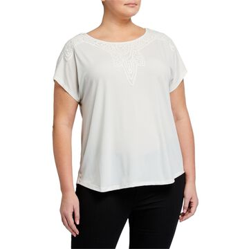 Plus Size Lace-Trim Top