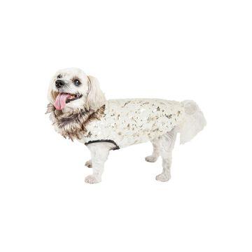 Pet Life Luxe 'Gilded Rawffled' Gold-Plated Designer Fur Dog Jacket Coat