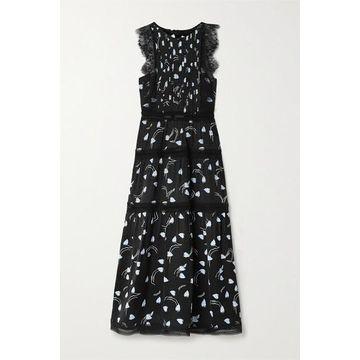 Self-Portrait - Lace And Crochet-trimmed Tiered Satin-jacquard Midi Dress - Black