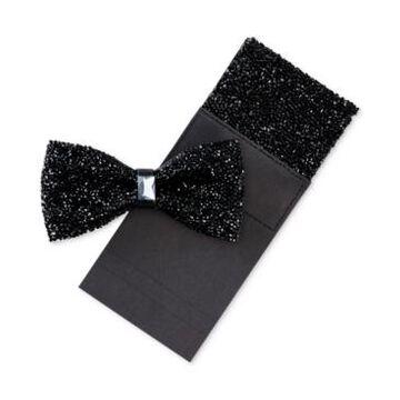 Tallia Men's Bling Bow Tie & Pocket Square