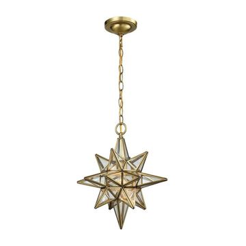 Westmore Lighting Star Lake Brushed Brass Single Transitional Clear Glass Star Pendant Light