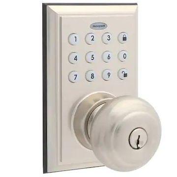 Honeywell 8832301S Smart Door Locks Digital Door Knob Bluetooth Door Lock, Satin Nickel   Quill