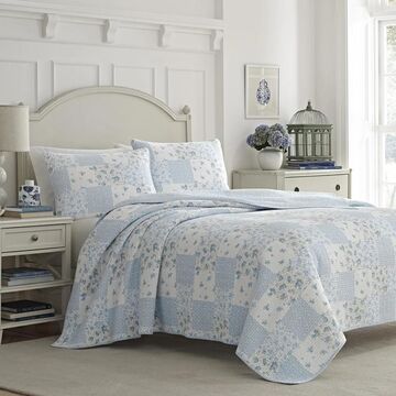 Laura Ashley Kenna Cotton Reversible Blue Quilt Set