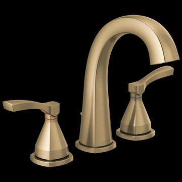 Delta Stryke; Champagne Bronze 2-Handle Widespread WaterSense Bathroom Sink Faucet with Drain and Deck Plate | 35775-CZMPU-DST