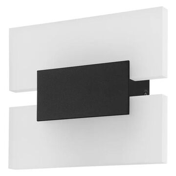 2-Light, 4.5W LED Wall Light, Matte Black/White Satin Glass