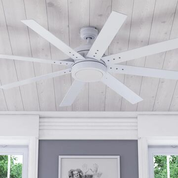 """62"""" Honeywell Xerxes Indoor Modern Ceiling Fan with Remote, Bright White"""