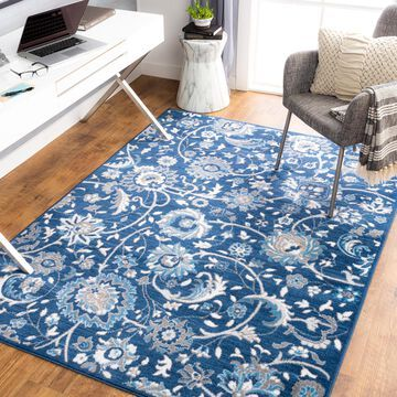 """Art of Knot Gracil Blue 7'10"""" x 10' Traditional Floral Area Rug"""