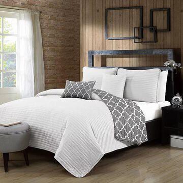 Avondale Manor Griffin 5-piece Quilt Set, White, Queen