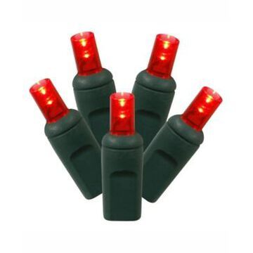 Vickerman 100 Red Wide Angle Led Light On Green Wire, 50' Christmas Light Strand