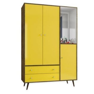 Manhattan Comfort Liberty Armoire in Rustic Brown and Yellow