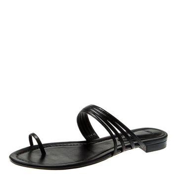 Alexandre Birman Black Leather Strappy Flat Sandals Size 37
