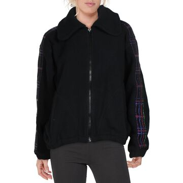 Terez Women's Oversized Fleece Jacket with Plaid Elastic Detail - Black/Plaid