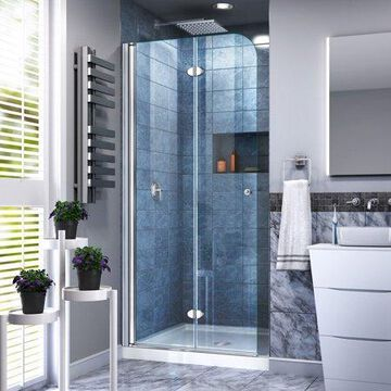 DreamLine Aqua Fold 36 in. D x 36 in. W x 74 3/4 in. H Frameless Bi-Fold Shower Door in Chrome with White Acrylic Base Kit