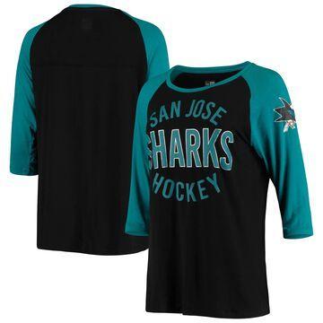 San Jose Sharks 5th & Ocean by New Era Women's Long Yard Raglan 3/4-Sleeve T-Shirt Black