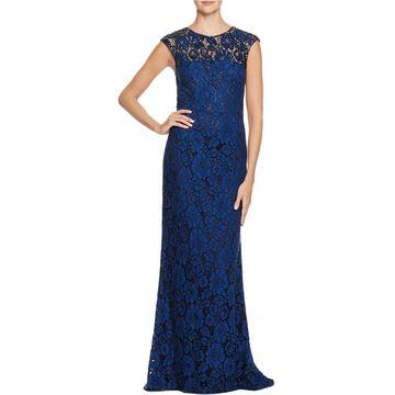 Carmen Marc Valvo Womens Lace Embellished Semi-Formal Dress