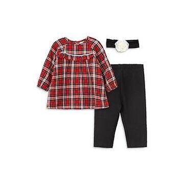 Little Me Girls' Cotton Plaid Tunic, Leggings & Headband Set - Baby