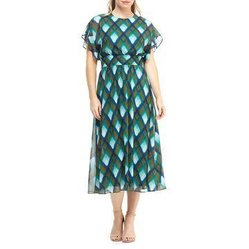 Diamond Plaid Chiffon Dress
